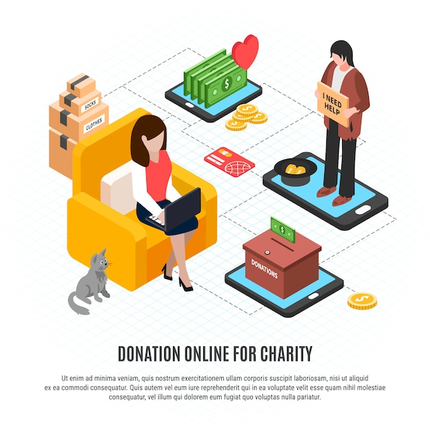 You can use your fresh web space not just for collecting funds and donations … Free Vector Donation Online Template