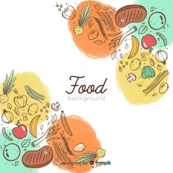 Free Vector Doodle food background
