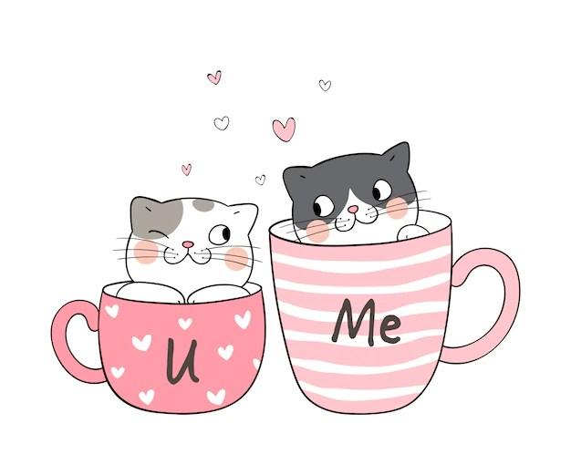 Download Draw couple love of cat in cup of tea. | Premium Vector