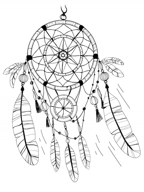 Dreamcatcher, feathers and beads. coloring page drawing