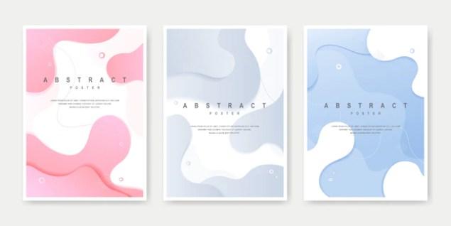 Dynamic creative fluid style cover set. Premium Vector