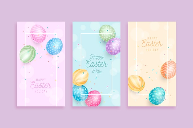 Easter day social media stories Free Vector