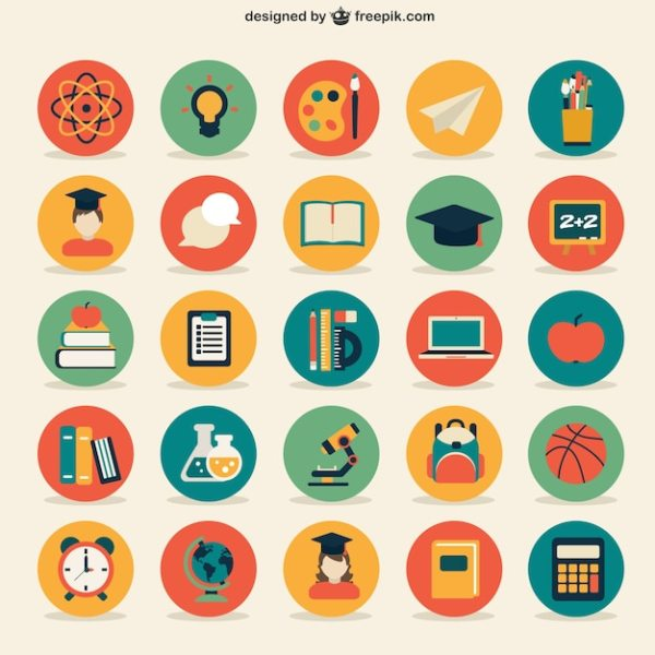 Education icons collection Vector Free Download