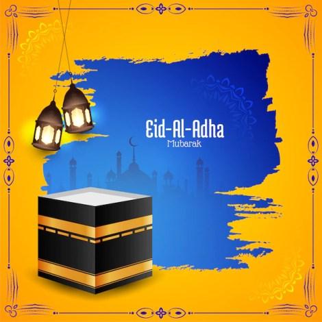 Eid-al-adha mubarak islamic festival background Free Vector