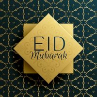Eid mubarak holiday greeting card template design with ...