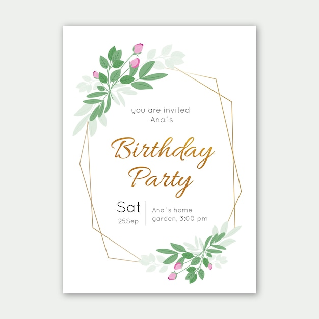 elegant birthday invitation card template