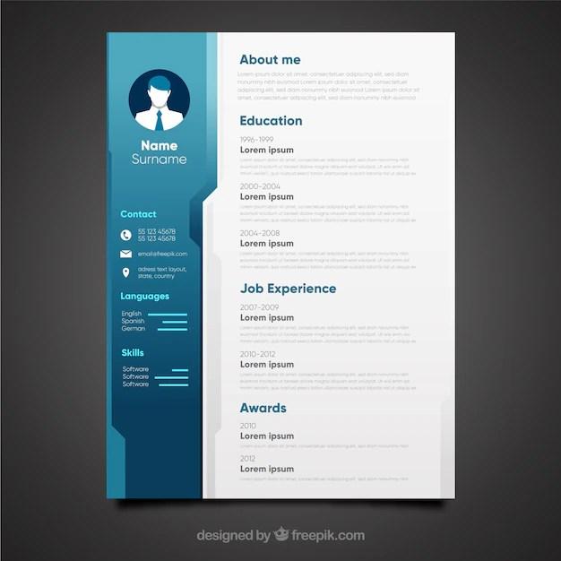 Elegant Blue Cv Design Vector Free Download