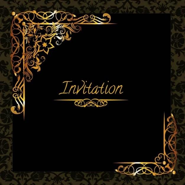 elegant golden design invitation