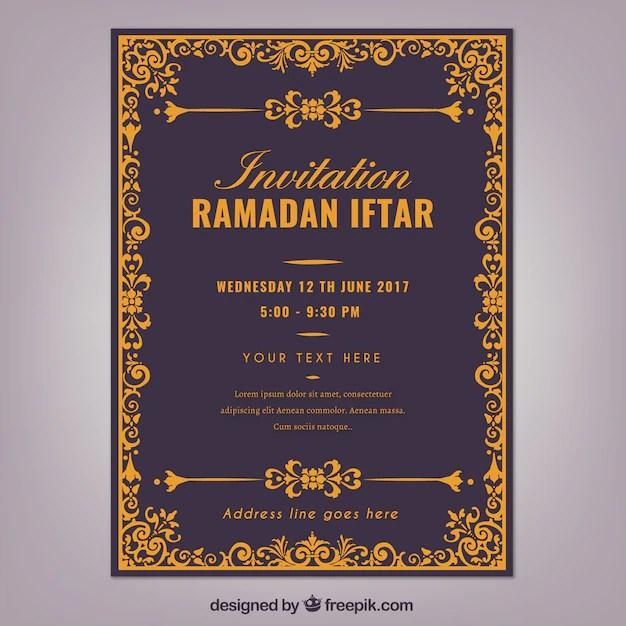 Elegant Invitation Of Ramadan Iftar Free Vector