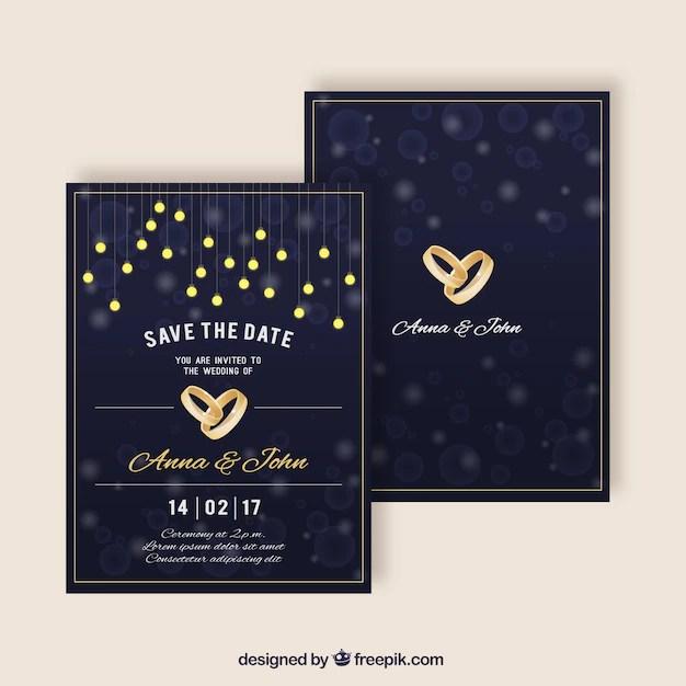 Elegant Wedding Invitations With Golden Rings Free Vector