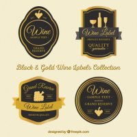 Elegant wine labels with golden details Vector | Premium ...