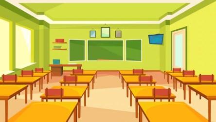 Premium Vector Empty classroom with blackboard classic school interior