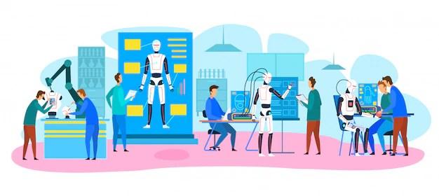 Engineers making, testing robots