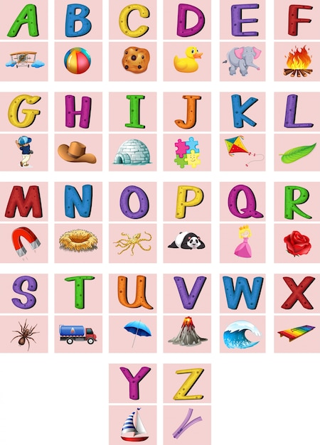 Free Vector | English alphabets a to z with pictures