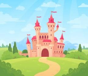 Premium Vector Fairytale landscape with castle fantasy palace tower fantastic fairy house or magic castles kingdom cartoon