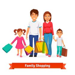 Free Vector Family shopping flat style vector illustration