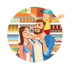 Premium Vector Family shopping in grocery cartoon vector icon