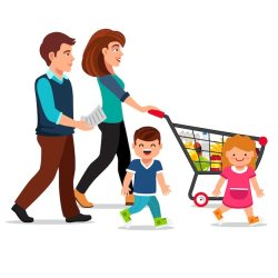 Free Vector Family walking with shopping cart