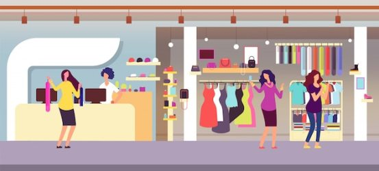 Premium Vector Fashion store shopping women in boutique with femele clothes and accessories clothing shop interior flat illustration