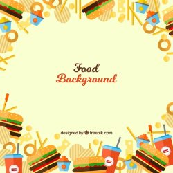Free Vector Fast food background with flat design