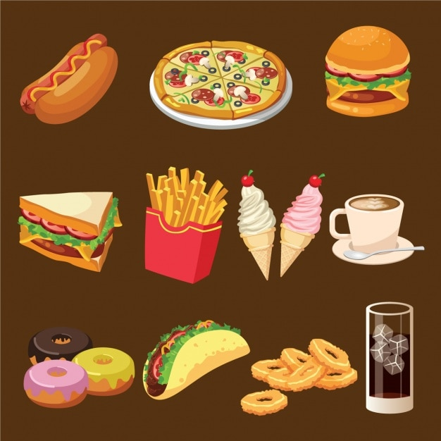 Fast food designs collection Vector  Free Download