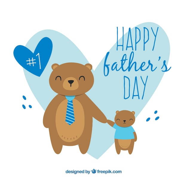 Father's day Illustration with cute bears Free Vector