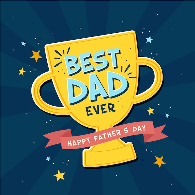 Father's day Best Dad Ever Trophy Illustration Premium Vector