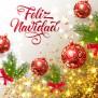 Feliz Navidad Lettering With Shining Confetti And Bright