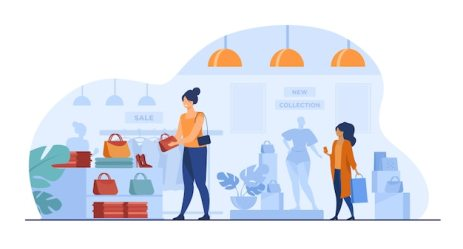 Free Vector Female customers shopping in clothes shop