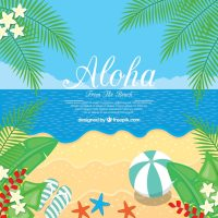 Flat design aloha beach background Vector | Free Download