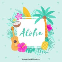 Flat design blue aloha background Vector | Free Download