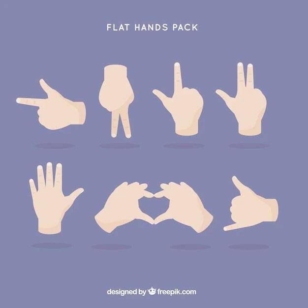 flat hand gestures vector