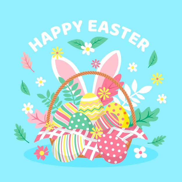 Flat happy easter day Free Vector