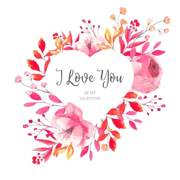 Floral Heart Frame With Watercolor Leaves Free Vector Download