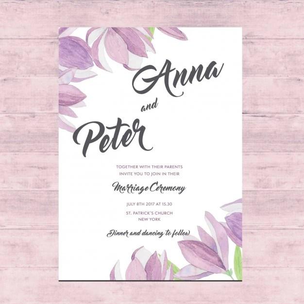 Floral wedding card design Vector  Free Download