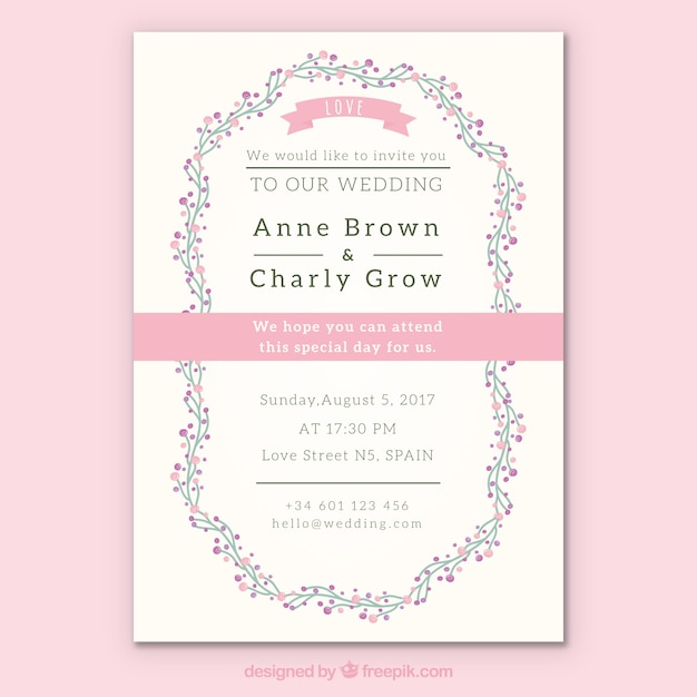 Fl Wedding Invitation With Pink Details Free Vector