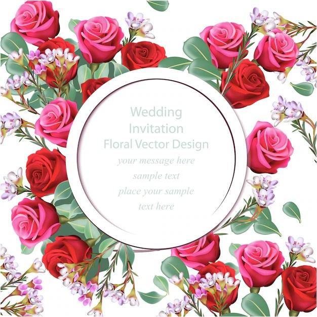 Fl Wedding Invitation Free Vector