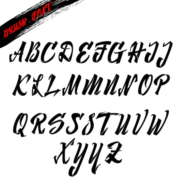 Font brush, latin alphabet italics for lettering Vector
