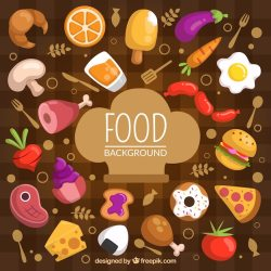 Free Vector Food background with flat design