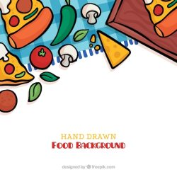 Free Vector Food background with hand drawn style
