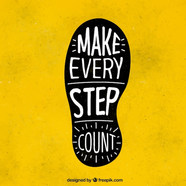 footprint with inspiring message