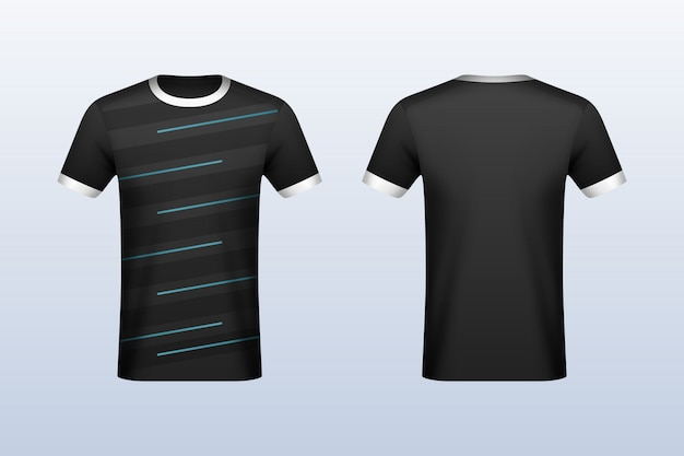Download Front and back black with blue strips jersey mockup ...
