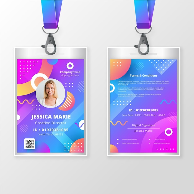 Create employee id cards with alphacard. Free Vector Front And Back Id Badge Template With Photo
