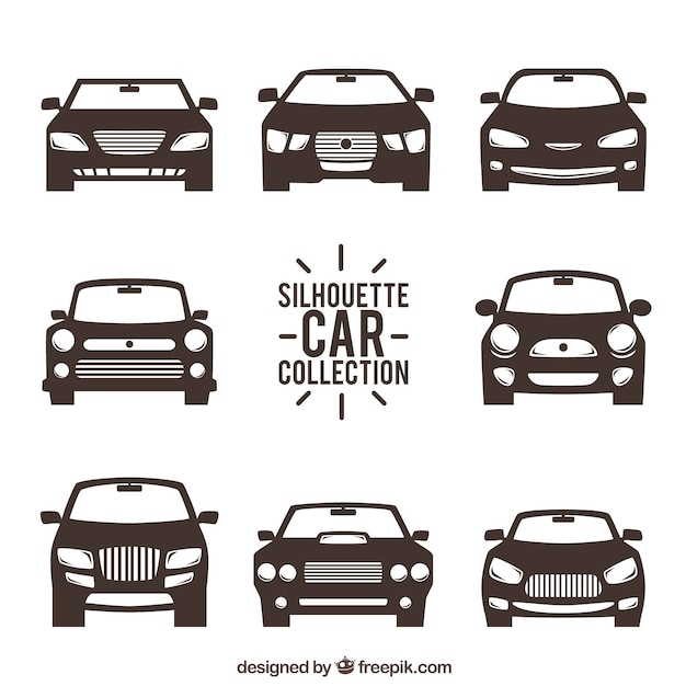 Front View Of Car Silhouettes Vector Free Download