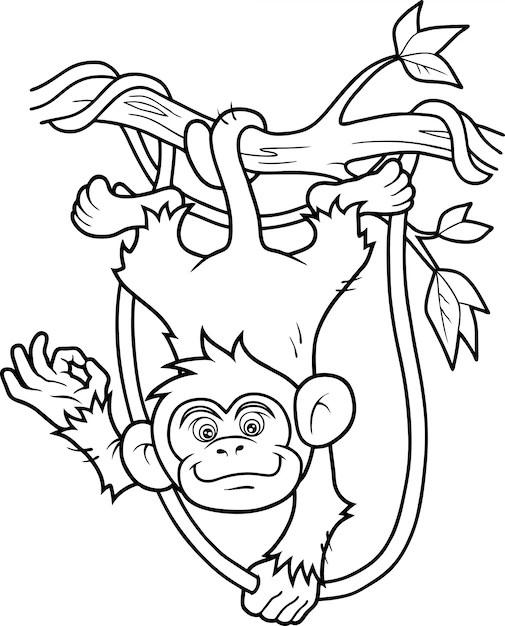 Funny Monkey Drawing : funny, monkey, drawing, Premium, Vector, Funny, Monkey