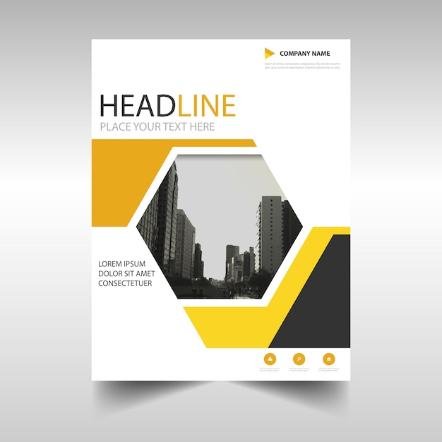 Geometric Brochure Yellow Color Vector Free Download