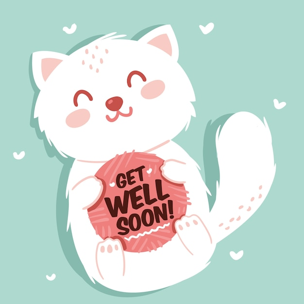Premium Vector | Get well soon with a cute character