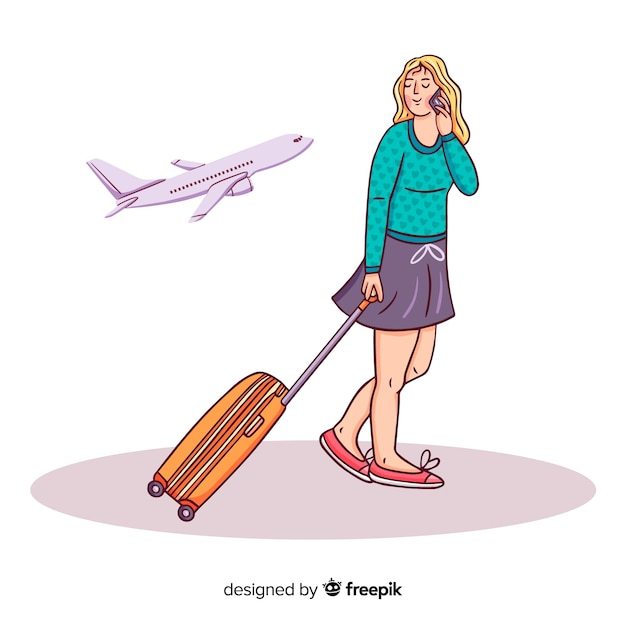 Girl going on a trip background | Free Vector