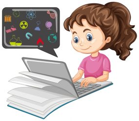 Free Vector Girl searching on laptop with education icon cartoon style isolated on white background