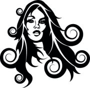 girl with long curly hair vector